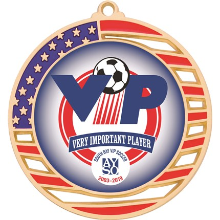 Custom Insert Soccer Medal with American Flag and Custom Team Logo